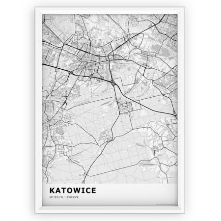 MAPA / PLAKAT - KATOWICE / standard WHITE