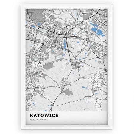 MAPA / PLAKAT - KATOWICE / standard BLUE