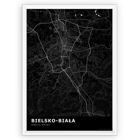 MAPA / PLAKAT - BIELSKO-BIAŁA / standard BLACK