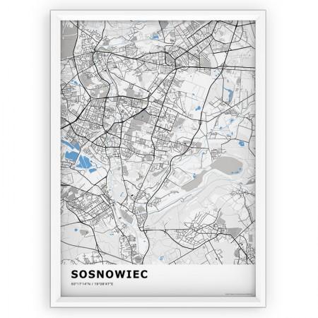 MAPA / PLAKAT - SOSNOWIEC / standard BLUE