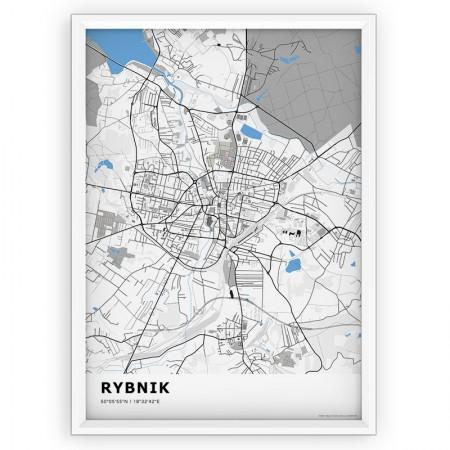 MAPA / PLAKAT - RYBNIK / standard BLUE