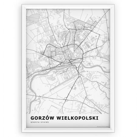 MAPA / PLAKAT - GORZÓW WIELKOPOLSKI / standard WHITE