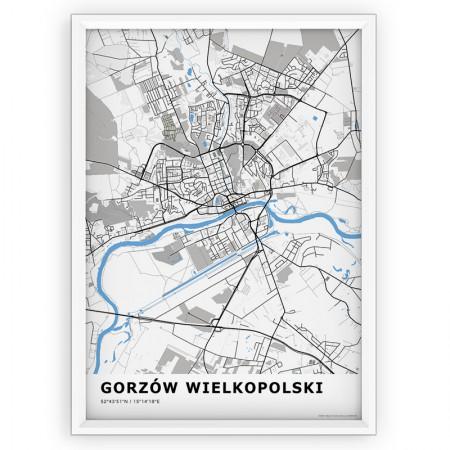 MAPA / PLAKAT - GORZÓW WIELKOPOLSKI / standard BLUE