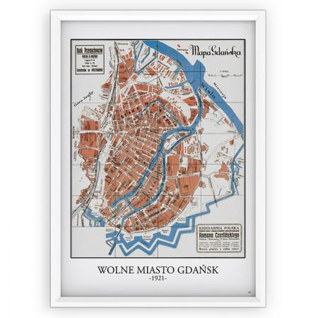 PLAKAT / STARA MAPA - Wolne Miasto Gdańsk 1921 -...