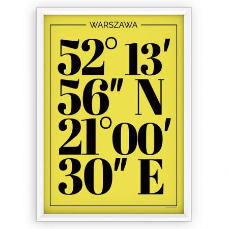PLAKAT TYPOGRAFICZNY - WARSZAWA / współrzędne yellow