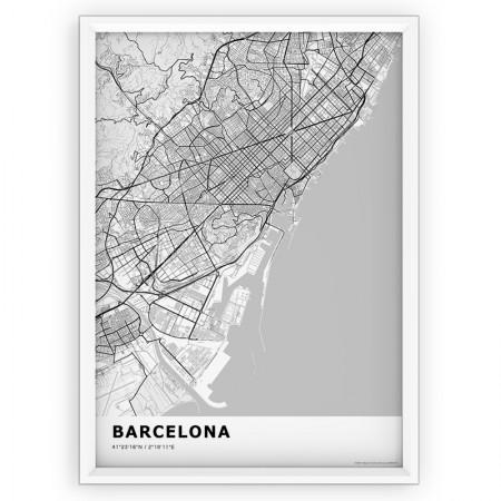 MAPA / PLAKAT - BARCELONA / standard WHITE