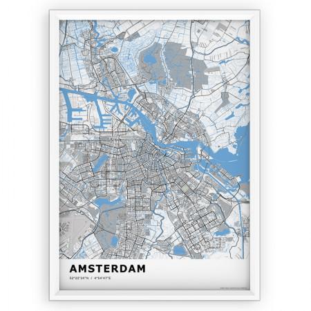 Plakat - mapa Amsterdam BLUE - st