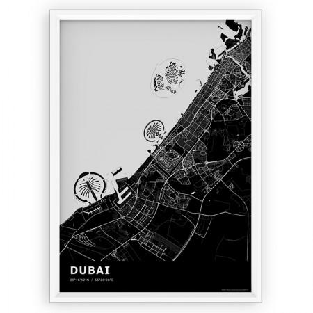 Plakat mapa Dubai - black st1
