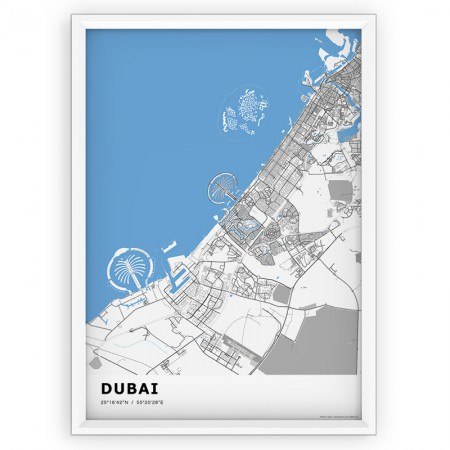 Plakat mapa - DUBAI blue st