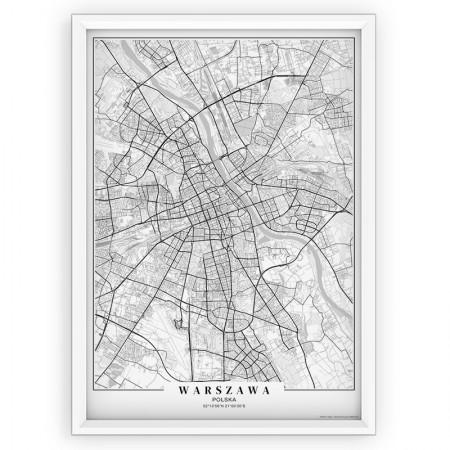 MAPA / PLAKAT - WARSZAWA / passe-partout WHITE