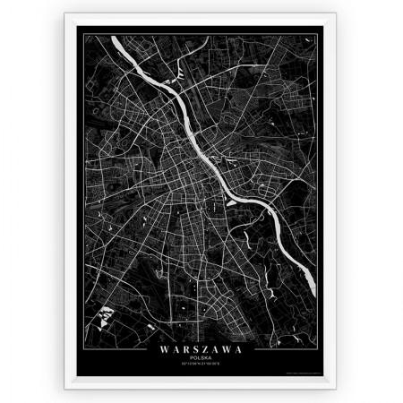 MAPA / PLAKAT - WARSZAWA / passe-partout BLACK