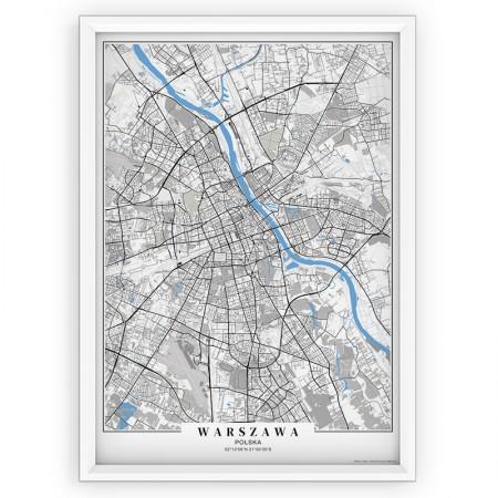 MAPA / PLAKAT - WARSZAWA / passe-partout BLUE