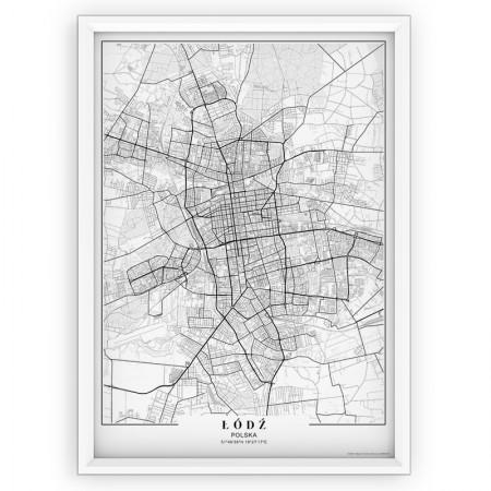 MAPA / PLAKAT - ŁÓDŹ / passe-partout WHITE