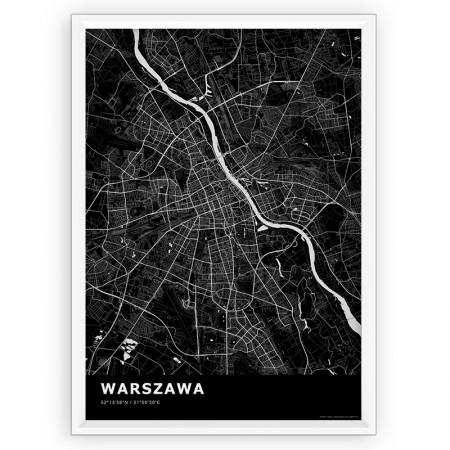MAPA / PLAKAT - WARSZAWA / standard BLACK
