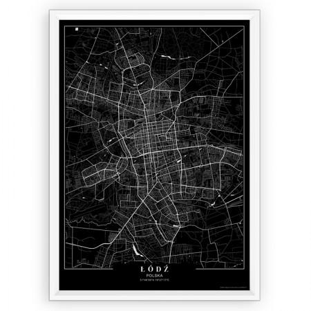 MAPA / PLAKAT - ŁÓDŹ / passe-partout BLACK