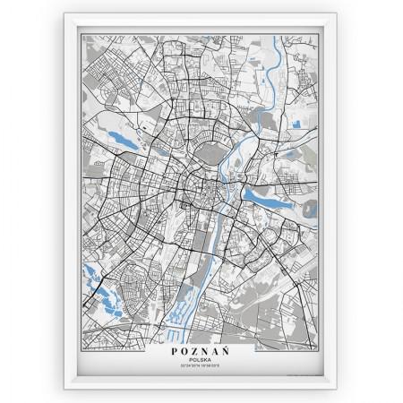 MAPA / PLAKAT - POZNAŃ / passe-partout BLUE