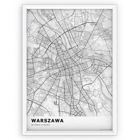 MAPA / PLAKAT - WARSZAWA / standard WHITE