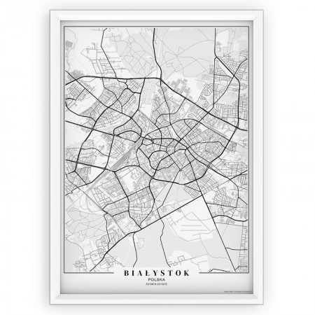MAPA / PLAKAT - BIAŁYSTOK / passe-partout WHITE