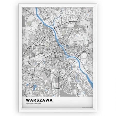 MAPA / PLAKAT - WARSZAWA / standard BLUE