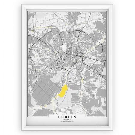 MAPA / PLAKAT - LUBLIN / passe-partout YELLOW