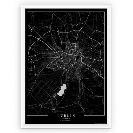MAPA / PLAKAT - LUBLIN / passe-partout BLACK