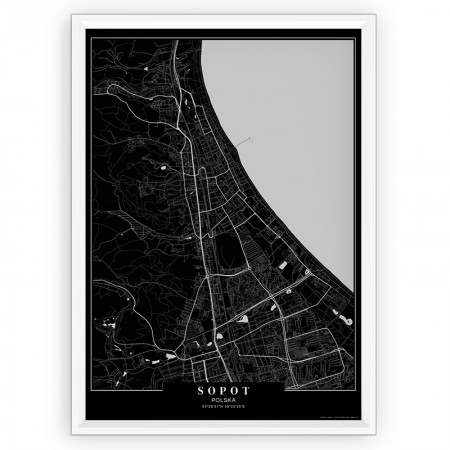 Plakat na ścianę, mapa Sopot- passepartout Black