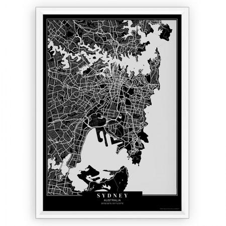 MAPA / PLAKAT - SYDNEY / passe-partout BLACK