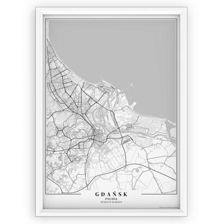 MAPA / PLAKAT - GDAŃSK / passe-partout WHITE