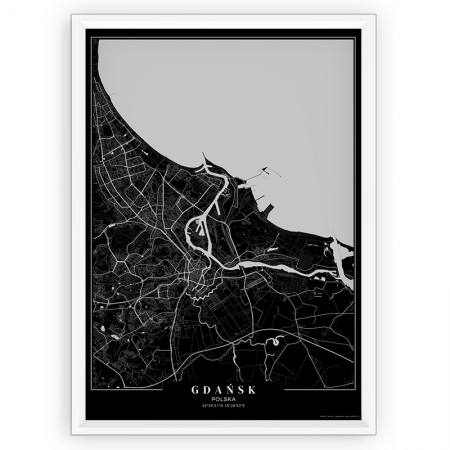 MAPA / PLAKAT - GDAŃSK / passe-partout BLACK