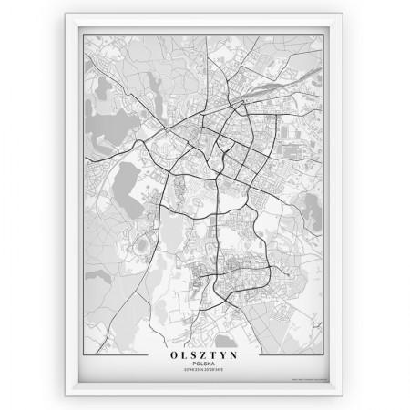 MAPA / PLAKAT - OLSZTYN / passe-partout WHITE