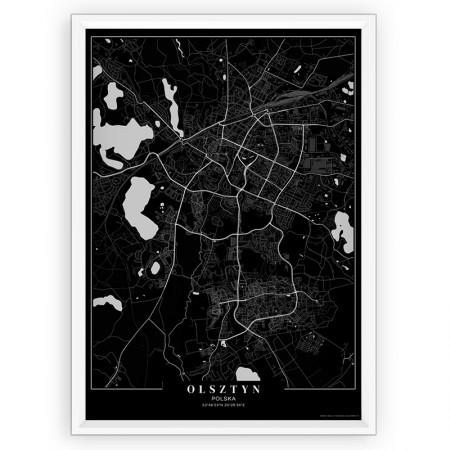 MAPA / PLAKAT - OLSZTYN / passe-partout BLACK
