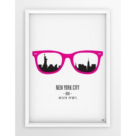 PLAKAT OKULARY - NEW YORK CITY / PINK