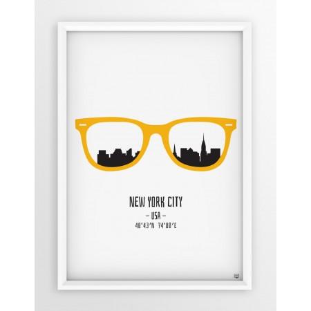 PLAKAT OKULARY - NEW YORK CITY / YELLOW