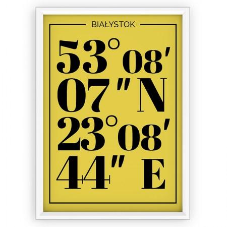 Plakat typograficzny Białystok - yellow