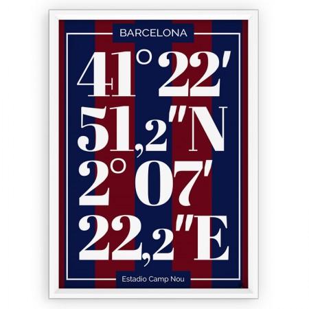 PLAKAT SPORTOWY TYPOGRAFIA - FC BARCELONA / współrzędne