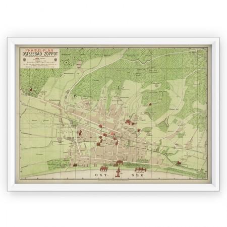 Plakat - stara mapa Sopot 1909r.