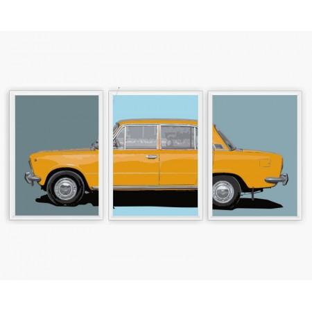 PLAKAT MOTORYZACYJNY - FIAT 125p BAHAMA YELLOW- zestaw 3 sztuki
