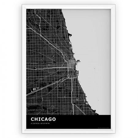 Plakat, mapa- Chicago black
