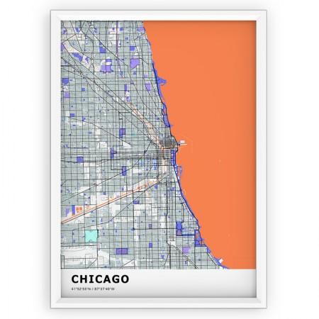MAPA / PLAKAT - CHICAGO/ standard KOLOR-1