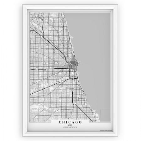 Plakat, mapa- Chicago black passe-partout