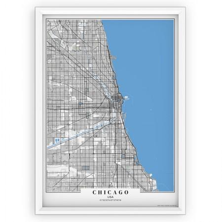 MAPA / PLAKAT - CHICAGO/ passe-partout BLUE