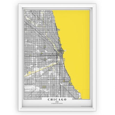 Plakat, mapa - Chicago yellow passe-partout