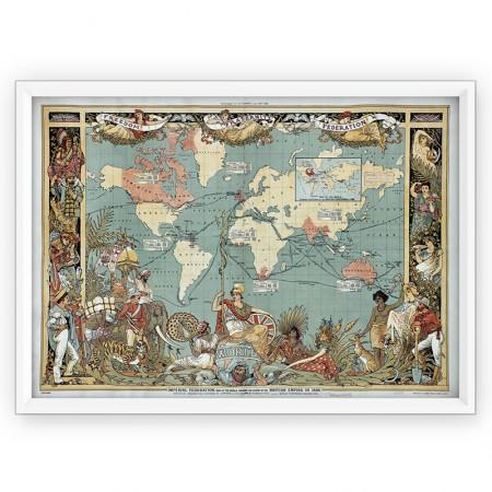 Plakat - mapa Imperium Brytyjskie 1886r - reprint