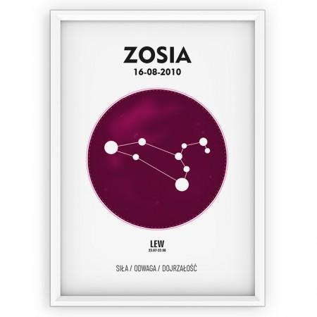 Plakat personalizowany - znak zodiaku LEW