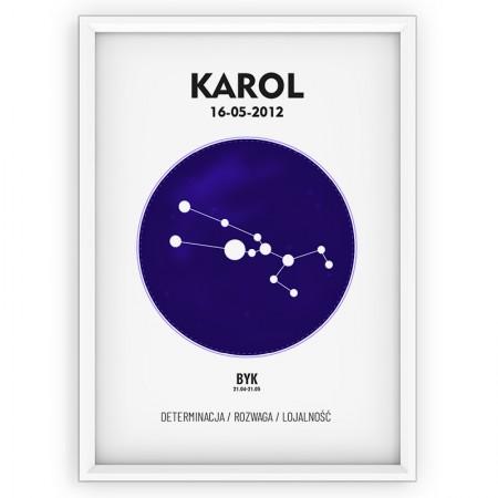 Plakat personalizowany - znak zodiaku BYK