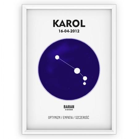 PLAKAT PERSONALIZOWANY - znak zodiaku - BARAN - blue