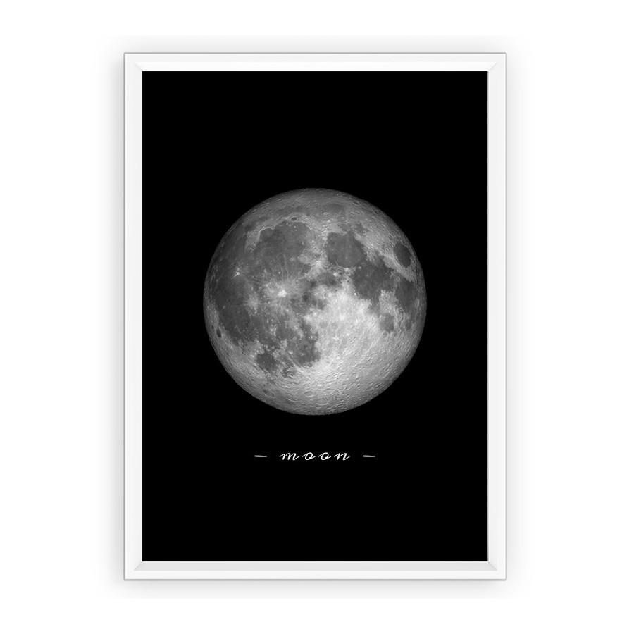 Plakat fotografia - księżyc z opisem moon