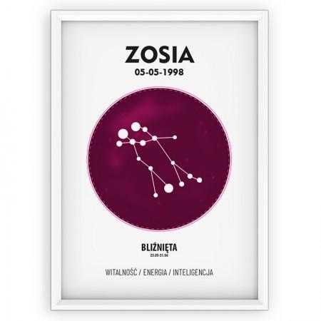 PLAKAT PERSONALIZOWANY- znak zodiaku- BLIŹNIĘTA- pink