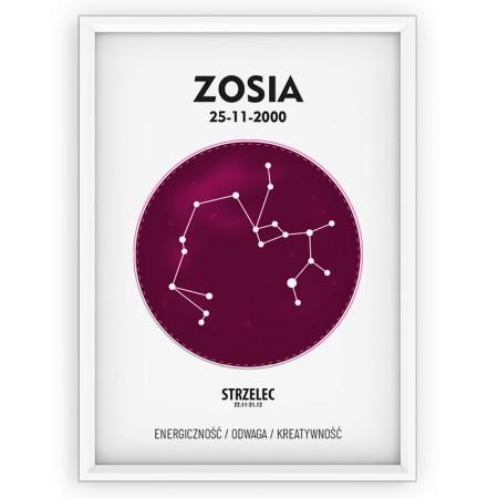 PLAKAT PERSONALIZOWANY - znak zodiaku - STRZELEC - pink