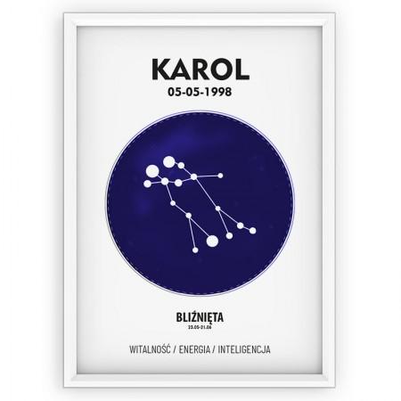 Plakat personalizowany - znak zodiaku BLIŹNIĘTA